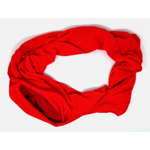 Bonding Pouch Infinity Scarf - red Jersey rib