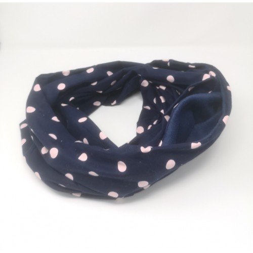 Bonding Scarf - Navy and Pink Spots